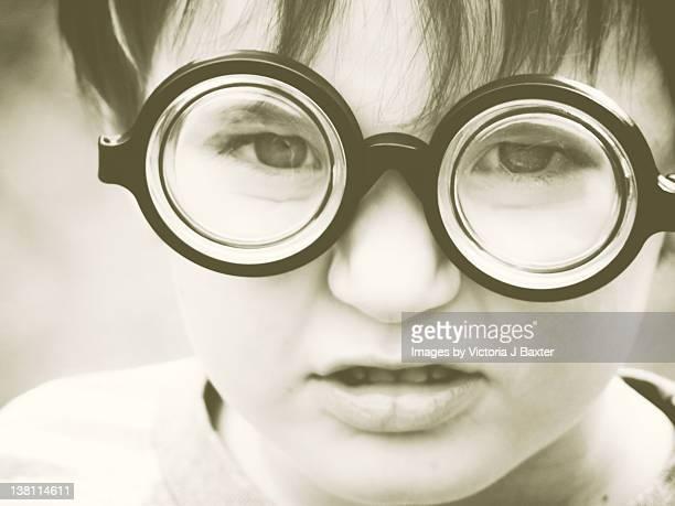 Little boy in comedy specs-glasses
