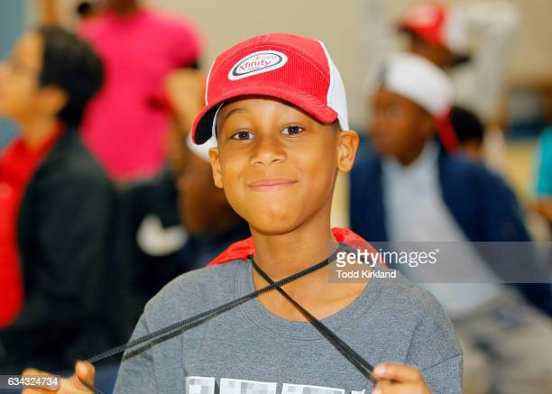 A little boy is excited during Daniel Saurez's visit to the Anderson Boys and Girls Club on February 8 2017 in Marietta Georgia