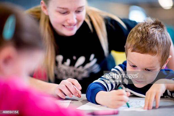 Little Boy Learning to Draw