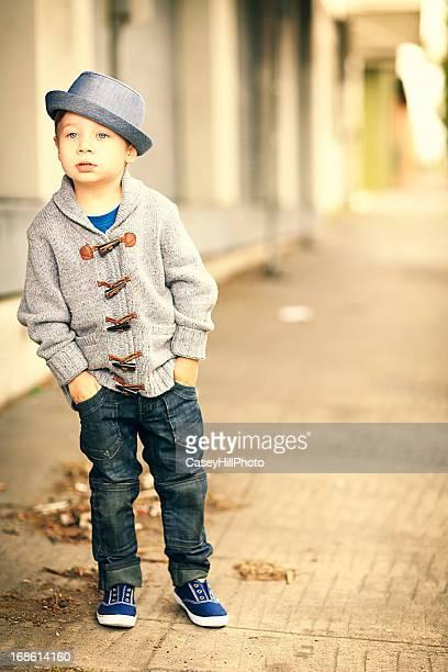 Little Boy on Sidewalk