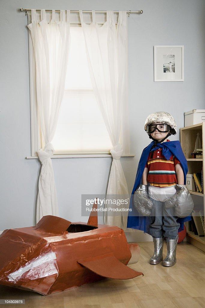 little boy playing dress up : Stock Photo