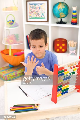 Little boy preparing for elementary school : Stock Photo