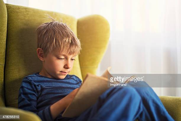 Piccolo ragazzo leggendo un libro in poltrona verde