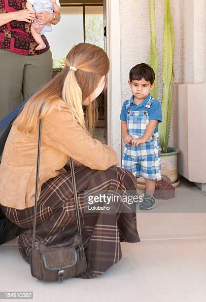 Little Boy Sad About Saying Bye to Mom