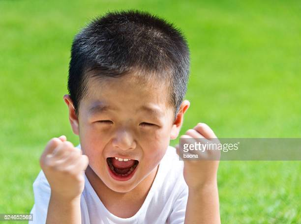 little boy shouting