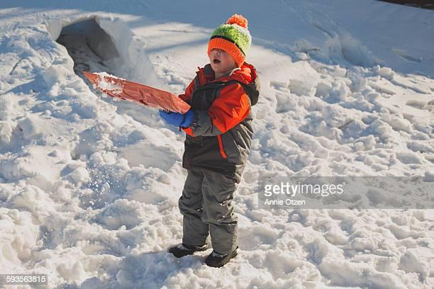Little Boy Shoveling