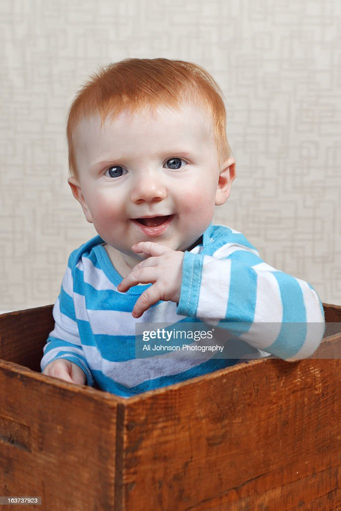Little boy smiles while sitting in a box : Stock Photo