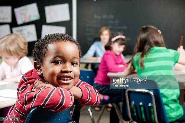 Little Boy Smiling at School