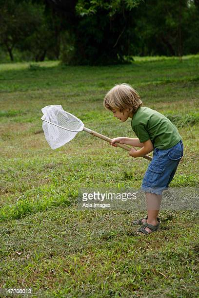 Little boy trying to catch insects in a net.