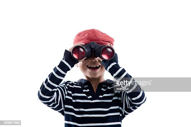 Little boy using Binoculars