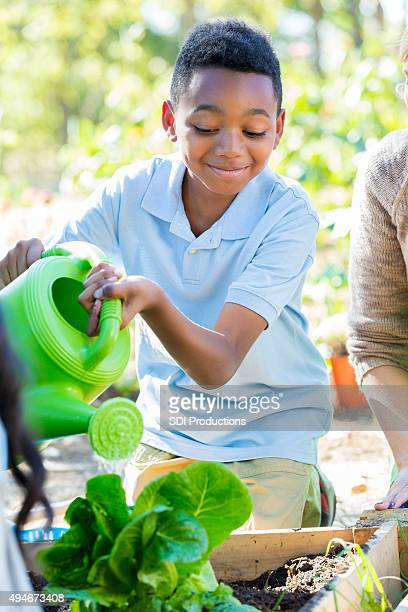Rapaz a rega plantas no jardim durante aula de ciências