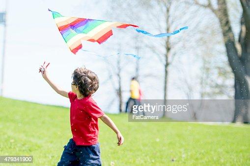 Little Boy Waving Flag at Park