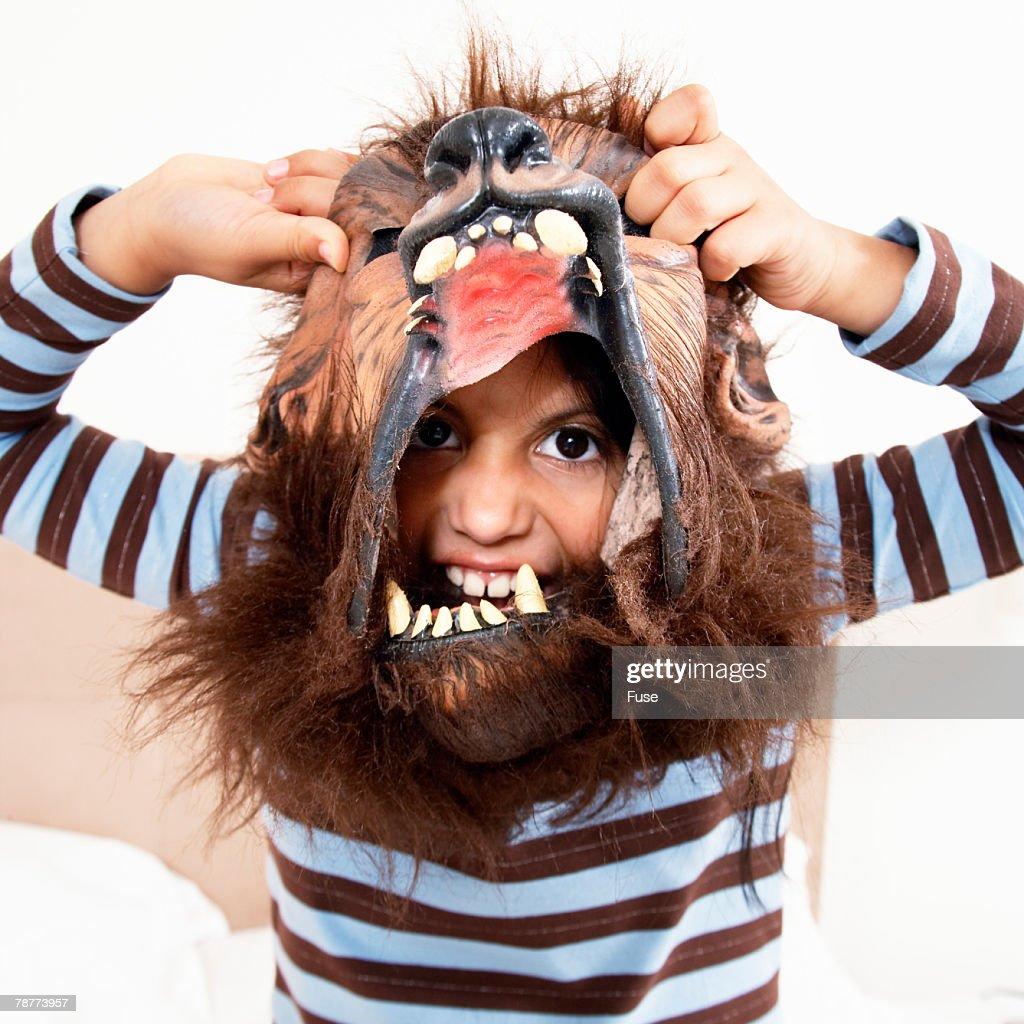 Little Boy Wearing Mask : Stock Photo