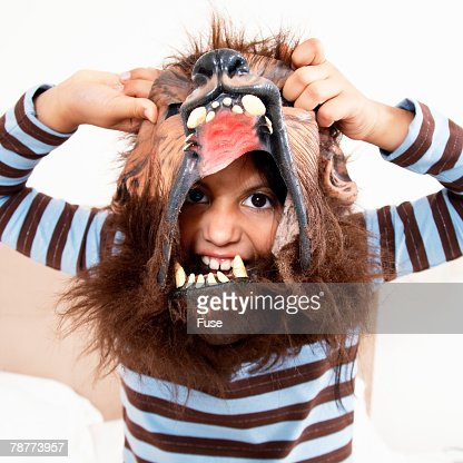 Little Boy Wearing Mask : Stock Photo