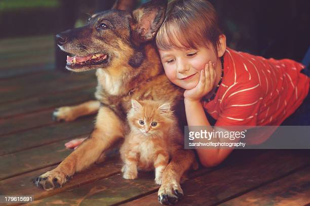 little boy with a dog and kitten