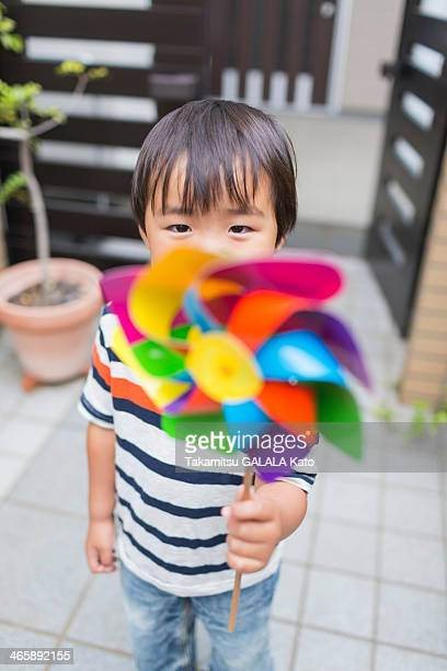 Little boy with a pinwheel