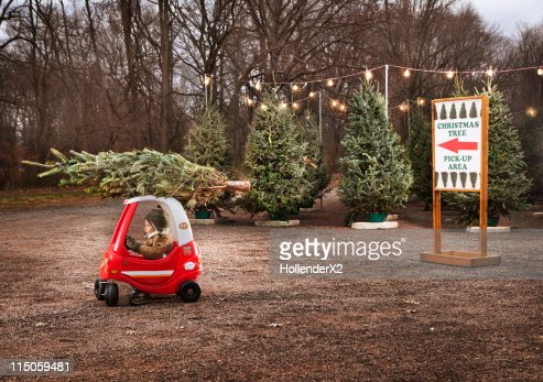 Little Boy With Christmas Tree On Top Of Toy Car Stock Photo  - Christmas Tree On Car