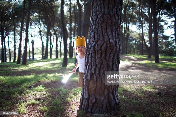 Little boy with crown and sword playing in forest