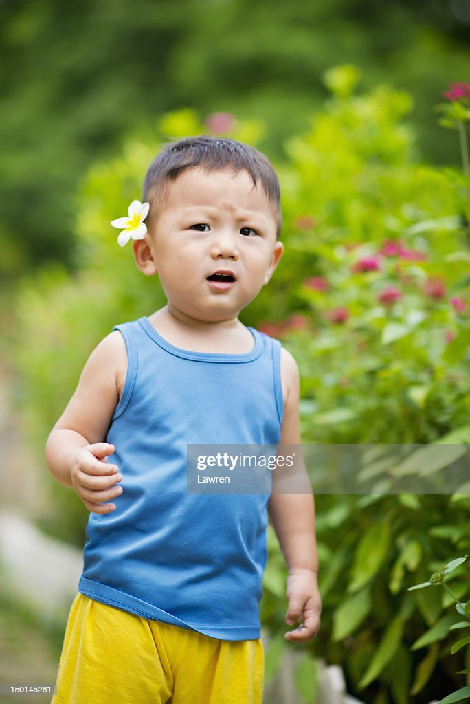 Little boy with flower on head : Stock Photo