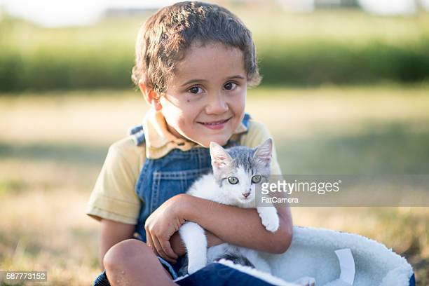 Little Boy with His Cat