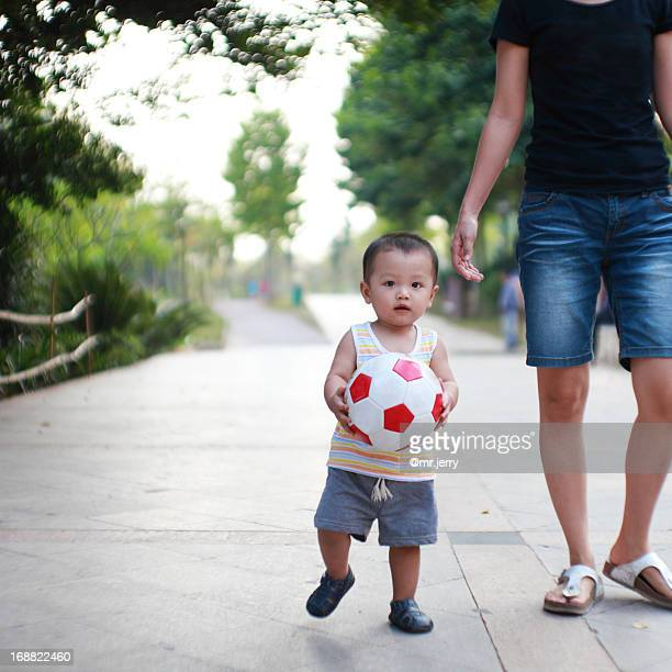 Little boy with his soccer