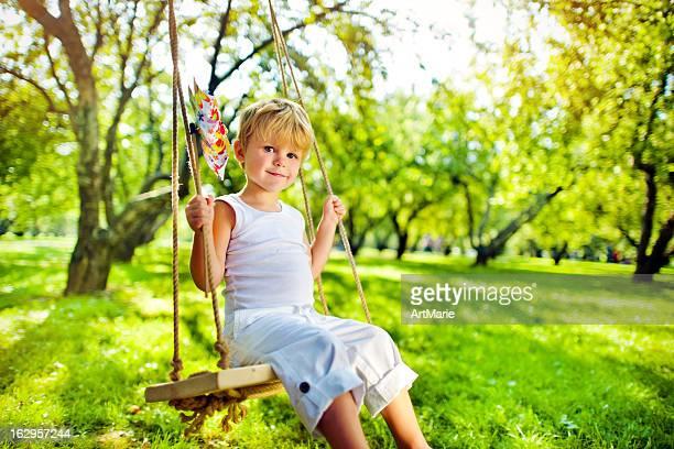 Little boy with pinwheel