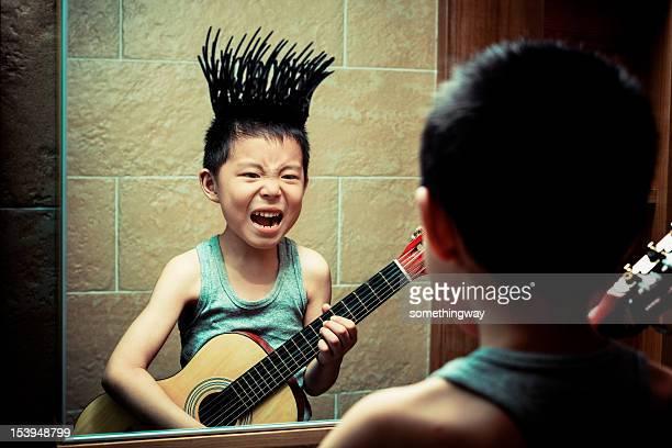 Little boy's graffiti in the bathroom mirror