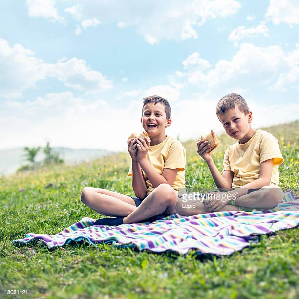 Little boys having picnic