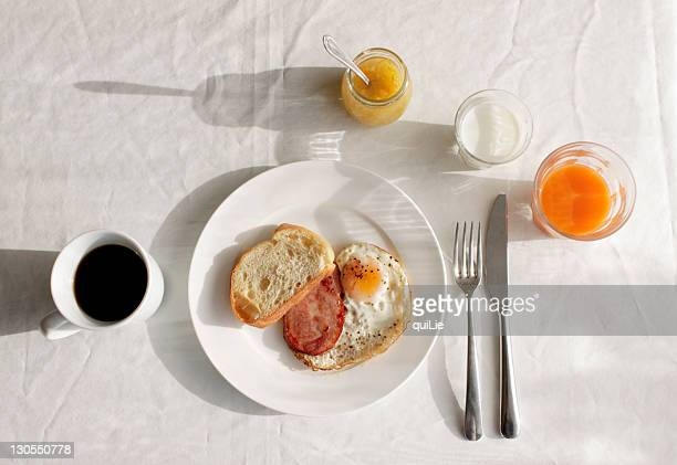 Little breakfast on white table
