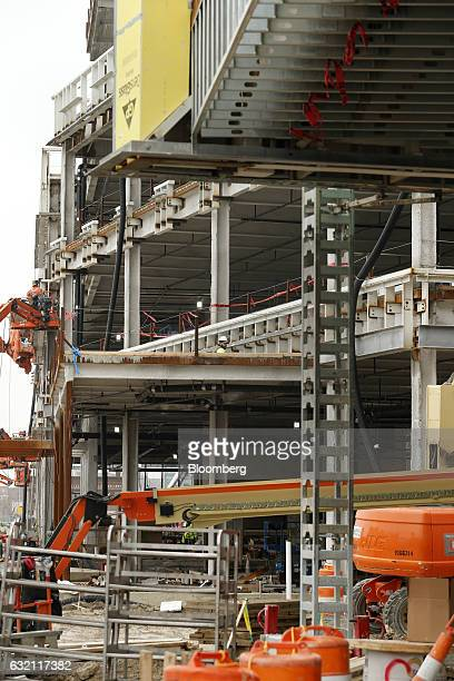 Little Caesars Arena stands under construction in Detroit Michigan US on Thursday Jan 19 2017 Detroit native and musician Kid Rock will open the $635...