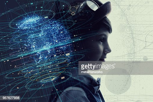 Little child and education concept. AI(Artificial intelligence). : Stock Photo