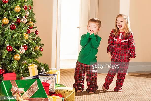 little children Christmas morning excitement