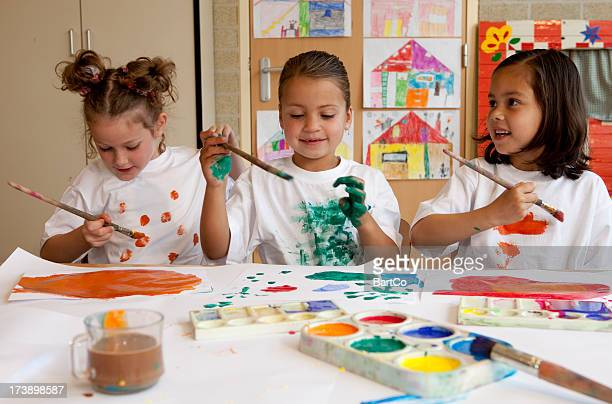 Little children painting