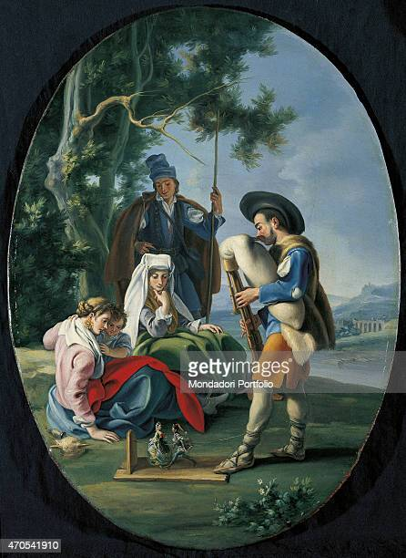 'Little Concert Entertainment in the Countryside by Filippo Falciatore 18th Century oil on canvas Private collection Whole artwork view A player...