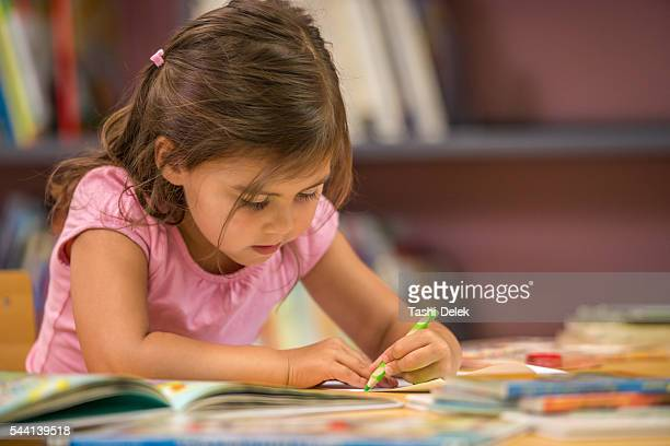 Little Cute Girl Drawing In Library