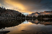 Little Five Lakes with the Kaweah Mountains behind in the Sierra Nevada at sunset