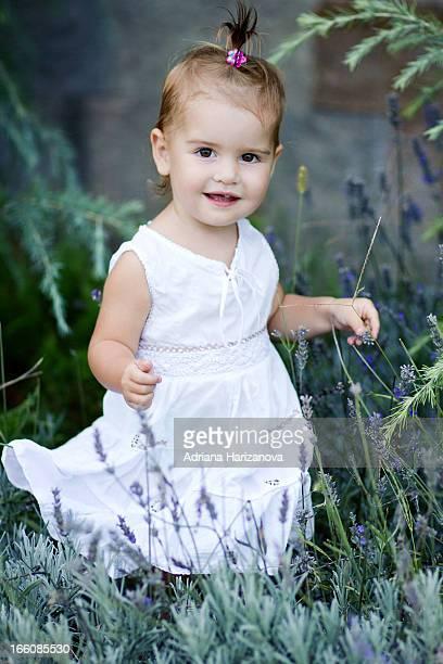 Little girl among lavender flowers