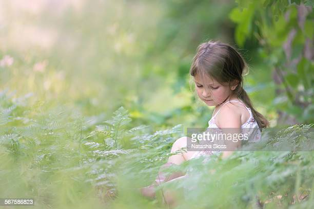 Little girl among the ferns