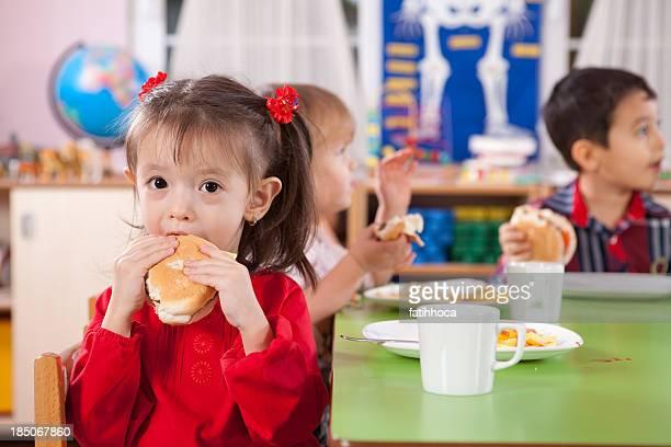 Little Girl and Hamburger