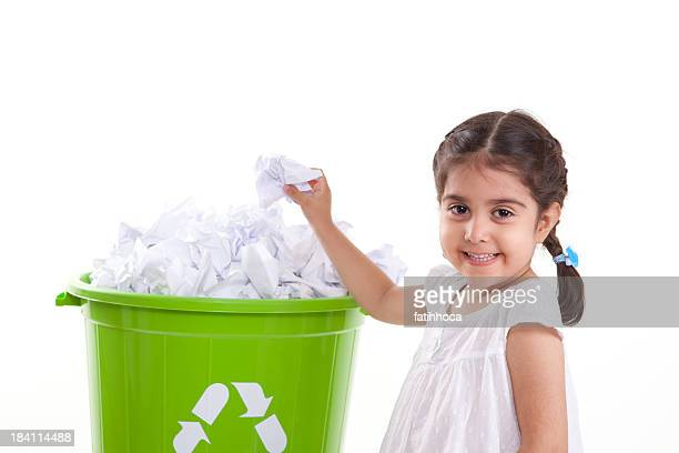 Little Girl and Recycling