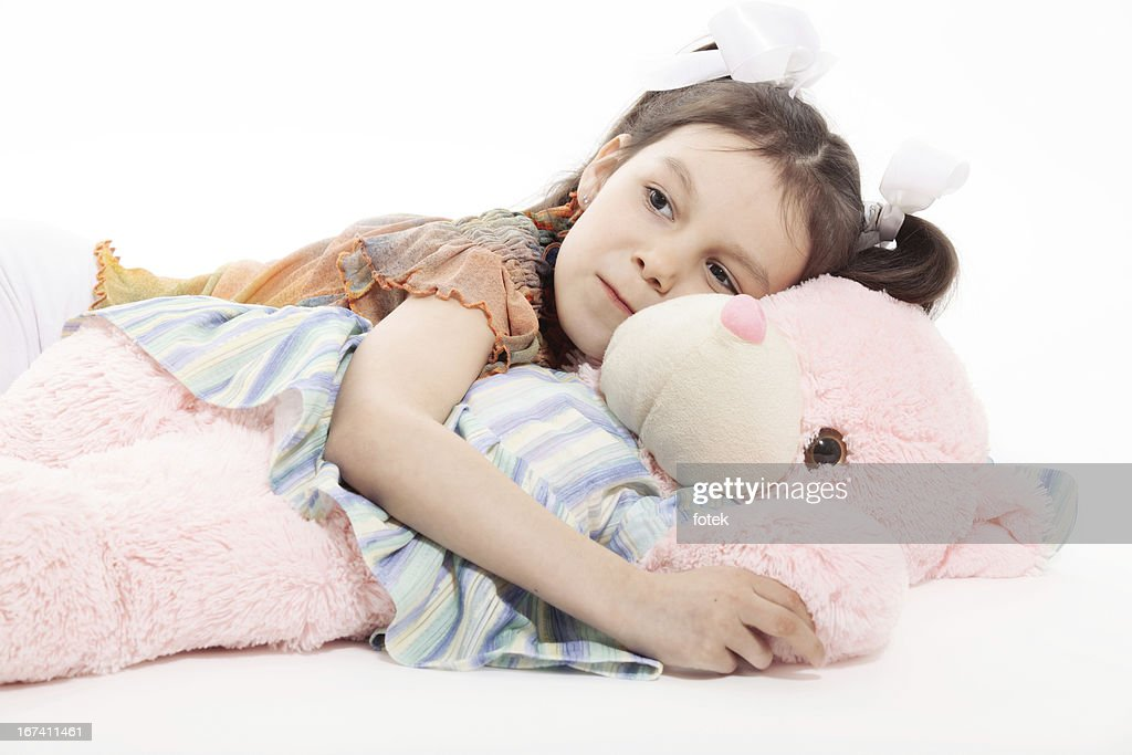 Little Girl And Teddy Bear : Stock Photo