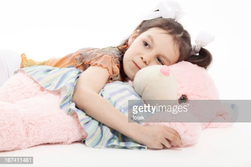 Little Girl And Teddy Bear : Bildbanksbilder