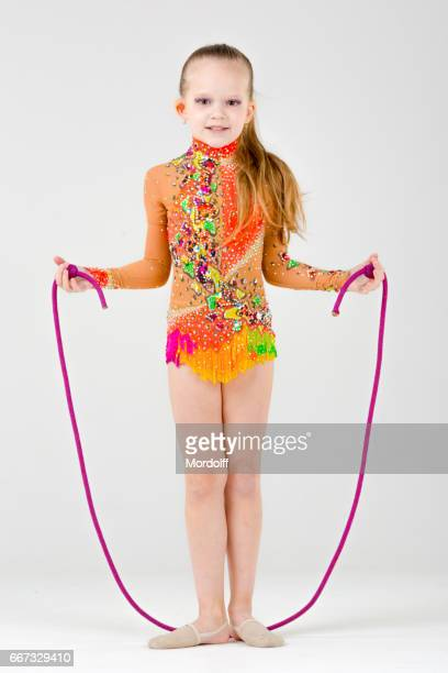 Little Girl Artistic Gymnast With Jump Rope