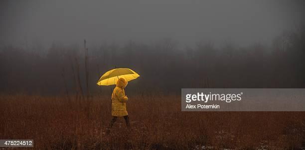 Petite fille en traversant le terrain dans le brouillard