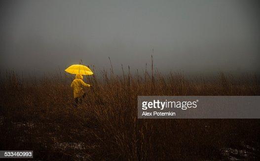 Kleines Mädchen über die field in fog