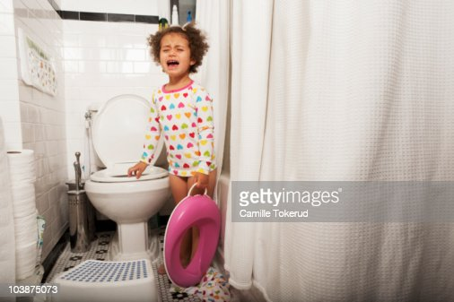Little Girl Crying In The Bathroom Stock Photo Getty Images
