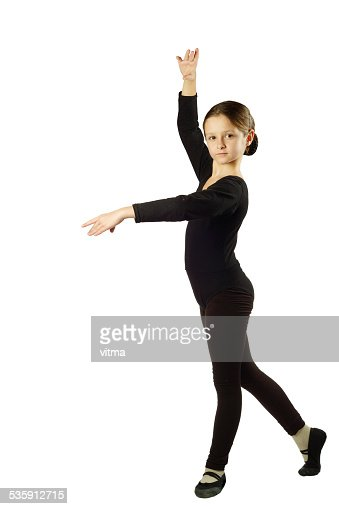 Little Girl dancer in pose on White Background : Stock Photo