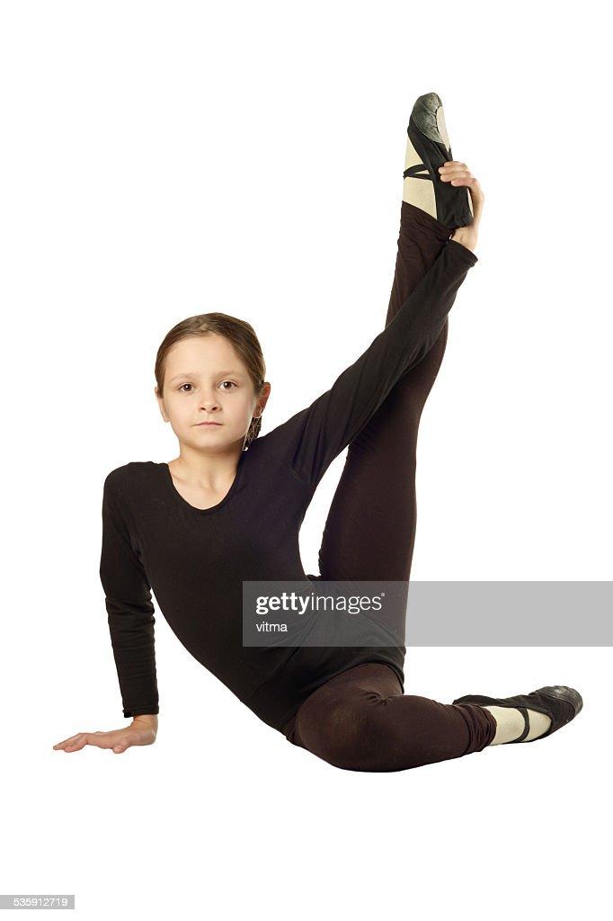 Little Girl dancer isolated on White Background : Stock Photo