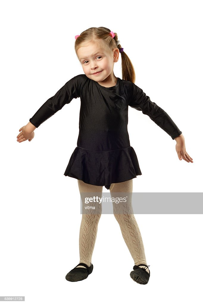 Little Girl dancer isolated on White Background : Stock Photo