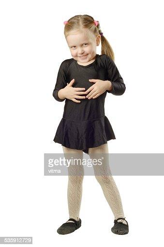 Little Girl bailarín aislado sobre fondo blanco : Foto de stock